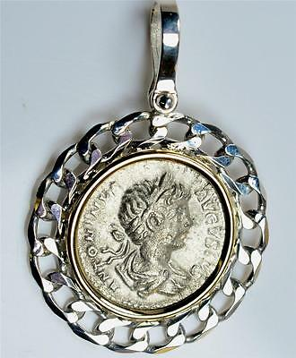 Brand New: Ancient Roman Coin in Sterling Silver & 14KT Gold Pendant  AD 198-217