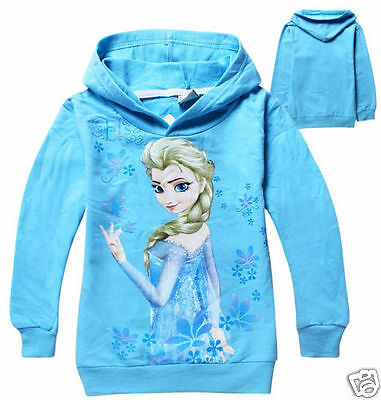 Frozen Elsa Hoodie Blue Jacket Sweater Jumper girls  UK STOCK