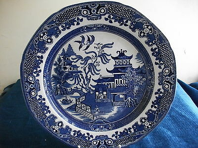 BURLEIGH WARE  WILLOW PATTERN  PLATE  VINTAGE