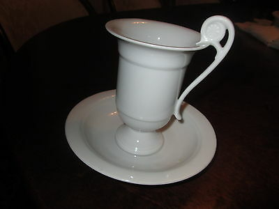 A KAIZER UNIQUE DESIGN COFFEE CUP & SAUCER  IN WHITE PORCELAIN NEW NEVER USED