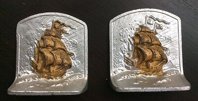 Antique Heavy, Bronze Met, Brass On Cast Iron Bookends, Sailing Ships Galleon