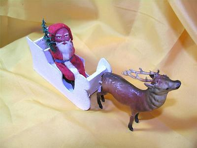 Vtg / Antique 1920S German Composition Santa N Sleigh W Reindeer Candy Container