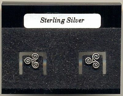 Spiral Celtic Triskele Sterling Silver 925 Studs Earrings Carded