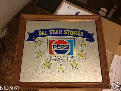 RARE-AMAZING-All Star Stores East Coast Pepsi Cola Soda Advertising Sign Mirror*