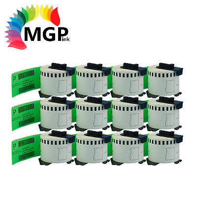 12 Compatible for Brother DK-22205 Continuous Green Roll -62mm x 30.48m QL570