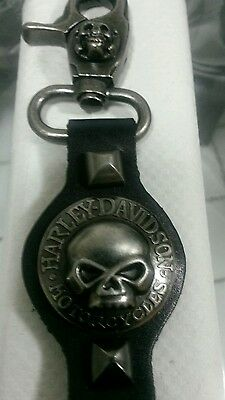 Harley Davidson Willie G.Skull Heavy Duty Leather KeyChain Swivel Lobster Clasp