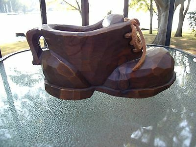 """Carved Wooden Shoe with Leather Laces perhaps a 6"""" x 3"""" x 2.5"""" Candle Holder"""