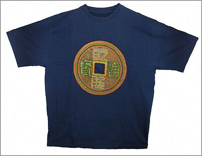 BLUE HAND PAINTED & BEADED CHINESE COIN T-SHIRT, Large .......... [IND8]
