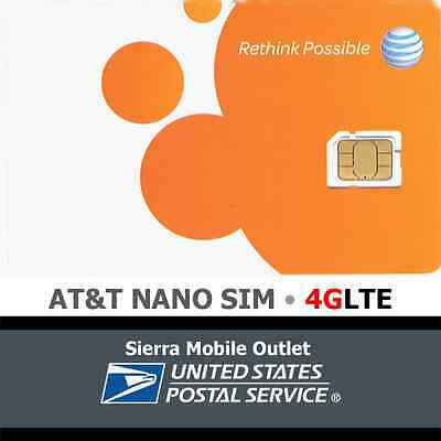 AT&T NANO SIM CARD NEW 4FF iPhone 5/6/7  Go Phone or Contract OEM ATT GENUINE