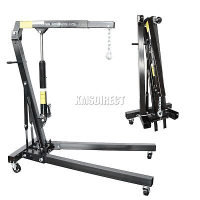 FoxHunter Black 1 Ton Tonne Hydraulic Folding Engine Crane Stand Hoist lift Jack