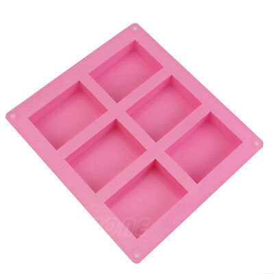 6-Cavity Rectangle Soap Mold Cake ice Silicone Mould Tray for Homemade Craft DIY