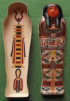Vintage Egyptian Sarcophagus Tin Box British Museum Souvenir for Archaeologist N
