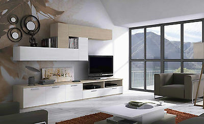 wohnwand eiche nussbaum kombiniert mit creme anthrazit. Black Bedroom Furniture Sets. Home Design Ideas
