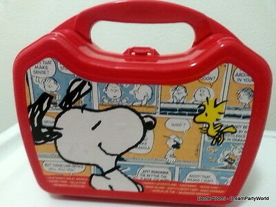 SNOOPY Lunch Box Dog Red Decoration Plastic Peanuts Charlie Brown Gift Whirley *