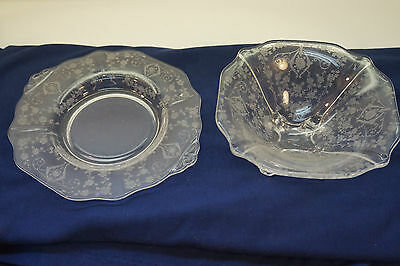 Vintage Cambridge Glass Diane Elegant Etch Pattern Mayonnaise Bowl Liner 2 Pc