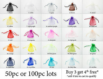 50/100pcs Sheer Organza Wedding Party Favor Decoration Gift Candy Bags Pouches