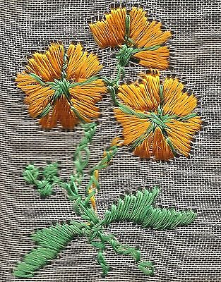 Vintage woven embroidered silk on mesh/lace -use in crazy quilt -orange flower