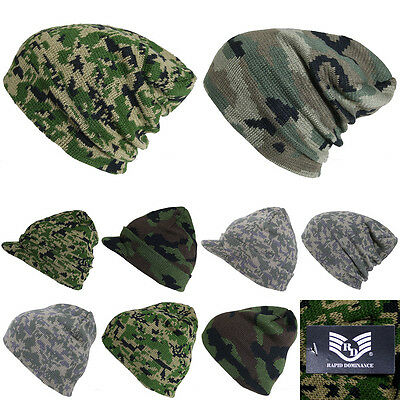 Plain Beanie Camouflage Hat Cap Winter Ski Hunting tactical Military Camo Visor