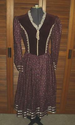 Vintage GUNNE SAX Boho Prarie Peasant Calico Lace Velvet Long Dress 70s