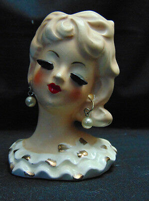 """Vintage Head Vase- Tilso, Japan 3 1/2"""" Ivory and Gold Hand painted"""