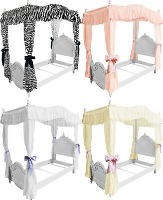 Twin Size White Ruffled Canopy Bed Cover Top Gorgeous