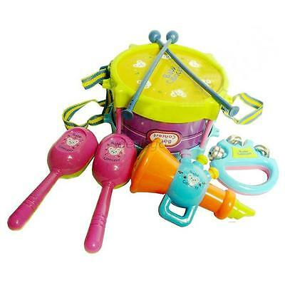 Children Drum Handbell Trumpet Cabasa Band Music Instrument Set Educational Toys