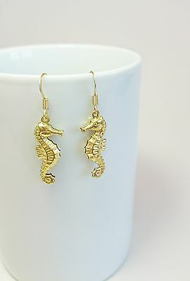 Seahorse Dangling Brass Earrings Long Cute Sea Animal Golden Elegant Metal Drop