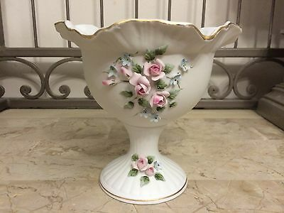 Lefton China Hand Painted Pedestal Candy Dish With Floral Design