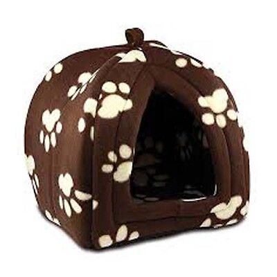 New Soft Fleece Small Pet Hut Bed Warm Comfort Cats Dogs Brown Paw Print Design