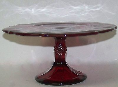 """Mosser Glass 9"""" Inverted Thistle Pedestal Raised Cake Plate Red Ruby 179CPR NIB"""