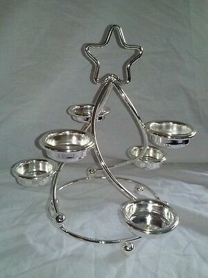 Silver Plate Winter Fest Candle Holder Tea Light Christmas Tree Holiday Decor