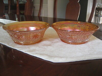 IMPERIAL MARIGOLD CARNIVAL GLASS 2 IDENTICAL LARGE BERRY BOWLS STAR MEDALION PT