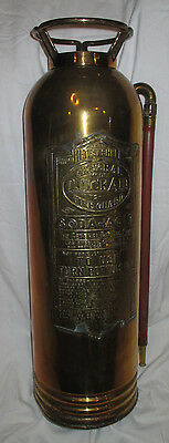 Antique Copper & Brass General Quick Aid Fire Extinguisher Shell Empty with Hose