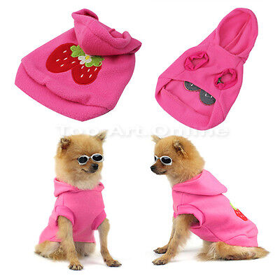 Sweet Cute Pet Dog Hoodie Strawberry Clothes Warm Coat Apparel Dress Up Size XS