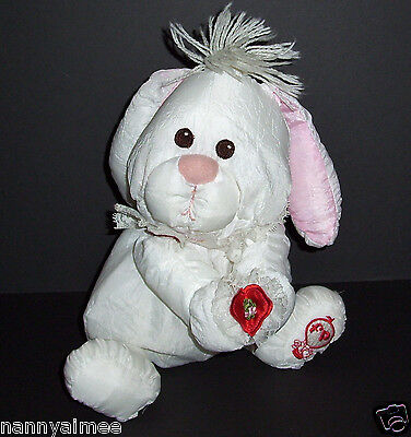Fisher Price 1986 White Bunny Puffalumps Plush Holding Heart Stuffed Lovey Toy