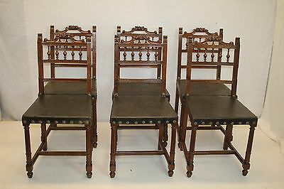French Renaissance Antique 6 Walnut Carved Dining Chairs w/Original Leather 1890