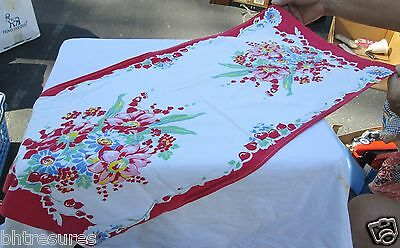 """Vintage 30"""" x 14"""" Floral Cotton Fabric Table Runner"""