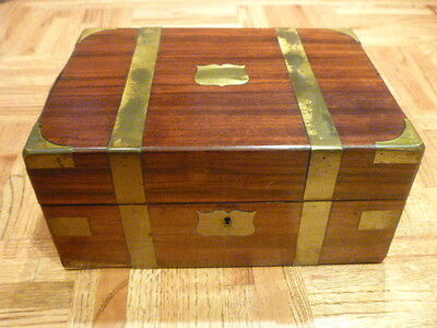 ANTIQUE ENGLISH CREST VENEER ROSEWOOD/BRASS VANITY BOX & JARS