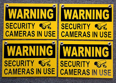 "4 WARNING SECURITY CAMERAS IN USE SIGNS 8""x12""   NEW with Grommets  Surveillance"