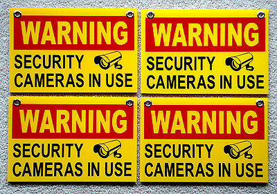 """4 WARNING SECURITY CAMERAS IN USE SIGNS 8""""x12""""   NEW with Grommets  Surveillance"""