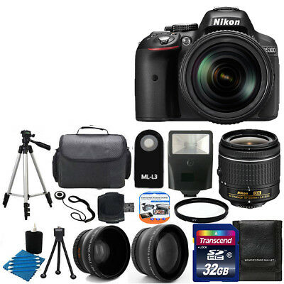 Nikon D5300 Digital SLR DSLR Camera +3 Lens 18-55 VR +32GB KIT & More Brand New