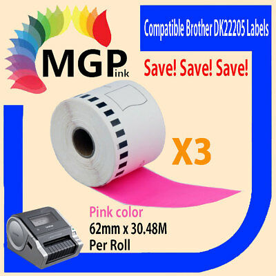3 Refill only Compatible for Brother DK-22205 Continuous Pink Roll 62mm x 30.48m