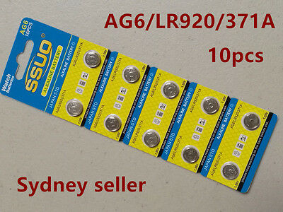 10pcs AG6/LR920/371A Button Cell Coin JAPAN STD Alkaline Battery 1.55V  Watches