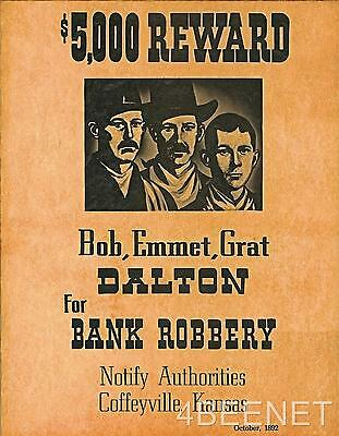 DALTON BROTHERS $5,000 REWARD WANTED POSTER rolled in tube LOOKS & FEELS OLD