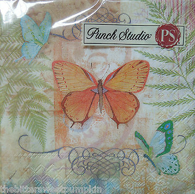 Punch Studio~Butterfly Collection~Paper Beverage/cocktail Napkin~20 Count~Sealed