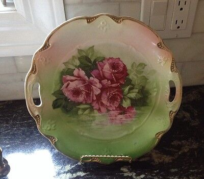 Antique Three Crown China Germany serving two-handled plate roses