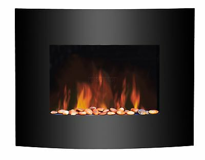 Electric Fireplace Black Curved Glass Heater LED Flame Effect 1.8KW Wall Mounted