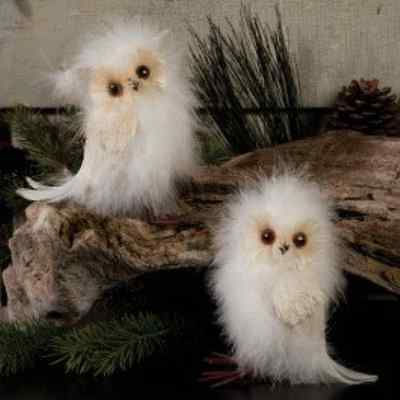 RAZ Feather White Christmas Snow Owl Figurines  Set of 2