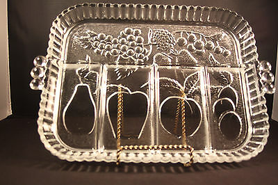 Indiana Glass Sectional Divided Veg Serving Tray Fruit