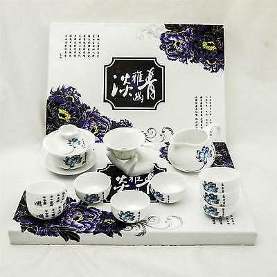 Geniune Porcelain Chinese Oriental Tea Set with 8 Cups Teapot Infuser Jug Giawan